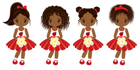 Vector cute little African American girls with various hairstyles. Vector little girls in polka dot dresses. African American little girls vector illustration.