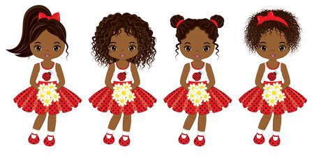 Vector schattige kleine Afrikaanse Amerikaanse meisjes met verschillende kapsels. Vectormeisjes in stipkleding. Afrikaanse Amerikaanse meisjes vectorillustratie.