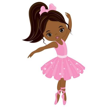Vector cute little African American ballerina dancing. Vector ballerina girl in pink tutu dress. African American ballerina vector illustration Vectores