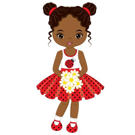 Vector cute little African American girl with flowers . Vector little girl in polka dot dress. African American little girl vector illustration