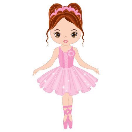 Vector cute little ballerina dancing. Vector ballerina girl in pink tutu dress. Ballerina vector illustration