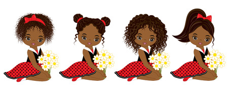 Vector cute little African American girls with various hairstyles. Vector little girls in polka dot dresses. African American little girls vector illustration. Stock Vector - 82937227