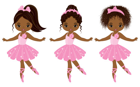 Vector cute little African American ballerinas with various hairstyles. Vector ballerinas in pink tutu dresses. African American ballerinas vector illustration Illustration