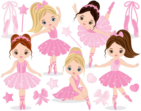Vector set with cute little ballerinas, bows and ballet shoes. Vector little ballerinas in pink tutu dresses. Little ballerinas vector illustration