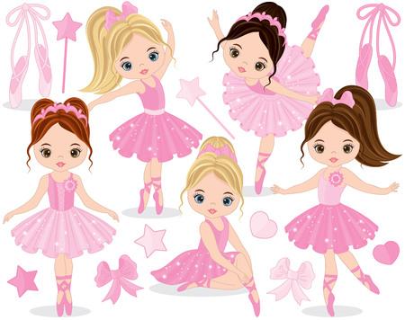 Vector met schattige kleine ballerina's, bogen en balletschoenen instellen. Vector kleine ballerina's in roze tutu jurken. Kleine ballerina's vectorillustratie Stock Illustratie