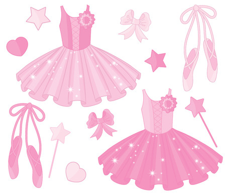 Vector set with ballet shoes and tutu dresses. Vector ballerinas tutu dresses and pointe shoes.  Ballet dresses and shoes vector illustration