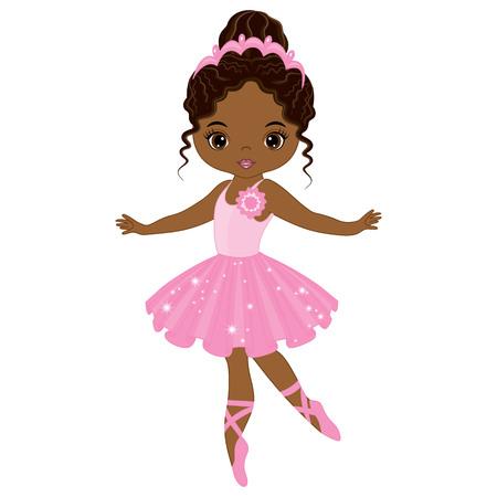 Vector cute little African American ballerina dancing. Vector ballerina girl in pink tutu dress. African American ballerina vector illustration Vettoriali