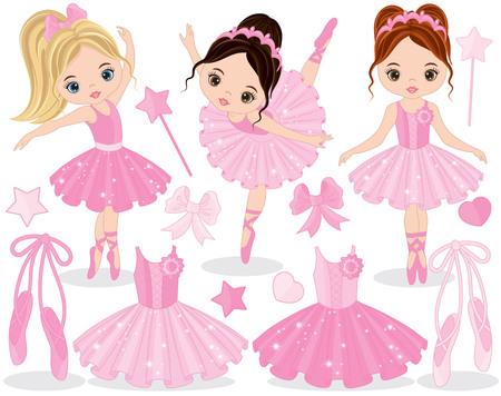 Vector set with cute little ballerinas, ballet shoes and tutu dress. Vector little ballerinas dancing. Ballerinas vector illustration