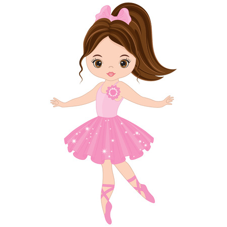 Vector cute little ballerina dancing. Vector ballerina girl in pink dress. Ballerina vector illustration