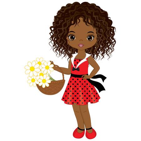 Vector linda niña afroamericana con cesta de flores. Vector niña en vestido de lunares. Ilustración de vector de niña afroamericana.