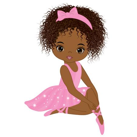 Vector cute little African American ballerina in pink tutu dress. Vector ballerina girl. African American ballerina vector illustration