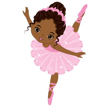 Vector cute little African American ballerina dancing. Vector ballerina girl in pink tutu dress. African American ballerina vector illustration Ilustracja