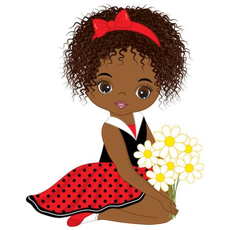 Vector linda niña afroamericana con flores. Vector niña en vestido de lunares y lazo rojo. Ilustración de vector de niña afroamericana