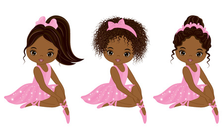 Vector cute little African American ballerinas with various hairstyles. Vector ballerinas in pink tutu dresses. African American ballerinas vector illustration  イラスト・ベクター素材