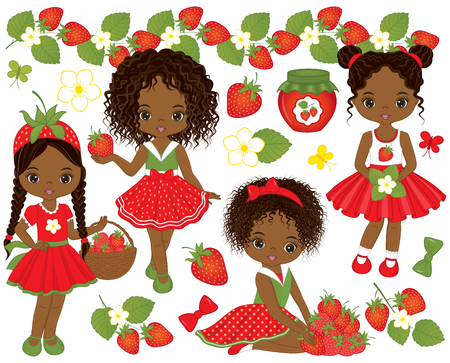 Vector set with cute little African American girls and strawberries. Vector strawberry girl. African American girls vector illustration