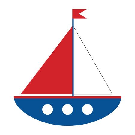 Vector cartoon ship on white background. Boat vector illustration. Illustration