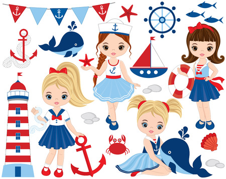 Vector nautical set with cute little girls, whale, anchor, crab, fish, anchor, ship, seashells and lighthouse. Vector nautical girls with various hairstyles. Nautical girls vector illustration
