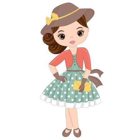 Vector schattig klein meisje in retro stijl. Pin-up klein meisje vectorillustratie