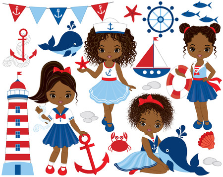 children crab: Vector nautical set with cute little African American girls, whale, anchor, crab, fish, anchor, ship and lighthouse. Vector nautical girls with various hairstyles. Nautical girls vector illustration