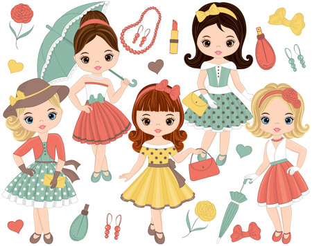 Vector set with cute little girls in retro style and fashion accessories. Pin-up little girls vector illustration. Vectores