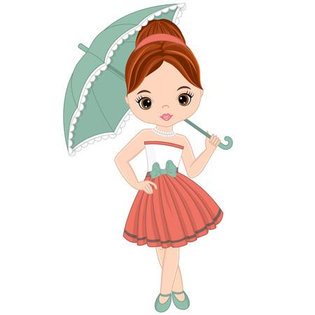 Vector cute bambina in stile retrò. pin-up bambina illustrazione vettoriale Archivio Fotografico - 82937294