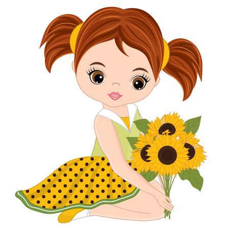 ヒマワリとかわいい女の子をベクトルします。水玉ドレスの少女をベクトルします。小さな女の子のベクトル イラスト