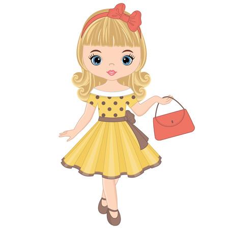 Vector cute little girl in retro style. Pin-up little girl vector illustration