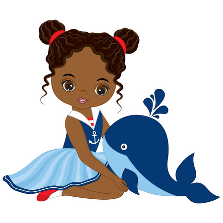 Vector cute little African American girl with baby whale. Vector nautical girl. African American girl vector illustration