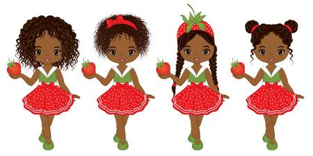 벡터 다양 한 헤어 스타일을 가진 귀여운 아프리카 계 미국인 여자입니다. 벡터 딸기 여자입니다. 아프리카 계 미국인 여자 벡터 일러스트 레이션