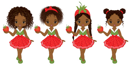 Vector cute little African American girls  with various hairstyles. Vector strawberry girls. African American girls vector illustration