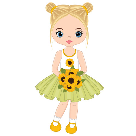 Vector cute little girl with bouquet of sunflowers. Little girl vector illustration. Illustration