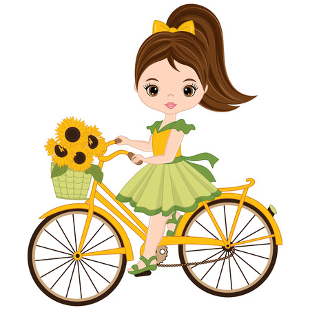 Vector cute little girl riding a bicycle. Vector bicycle with basket of sunflowers. Little girl vector illustration.
