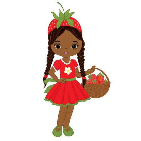 8e8b27ef225 Vector cute little African American girl with basket of strawberries. Vector  strawberry girl. African