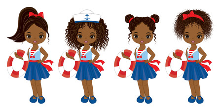 Vector cute little African American girls with various hairstyles. Vector nautical girls with buoys. African American girls vector illustration