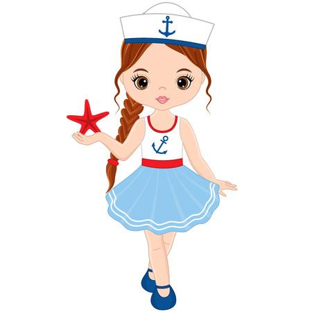 Vector cute little girl with starfish. Vector nautical girl. Little girl vector illustration Çizim