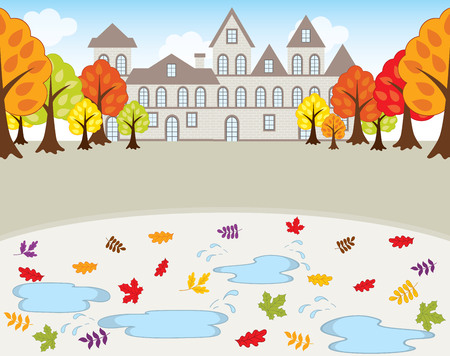 Vector autumn landscape. House, trees and leaves on background. Autumn landscape vector illustration
