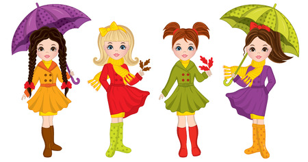 Vector beautiful young girls with various hairstyles. Vector cute girls with umbrellas and oak leaves. Autumn girls vector illustration Illustration