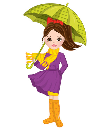 Vector beautiful young girl with umbrella.  Autumn girl vector illustration Illustration
