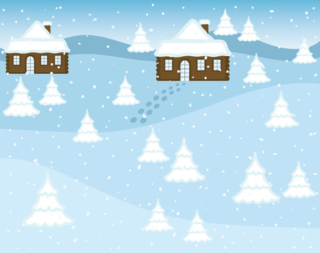 Vector winter landscape with houses and winter trees on background. Vector winter landscape