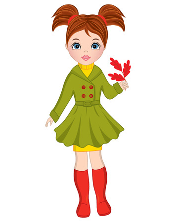 Vector beautiful young girl with oak leaves. Autumn girl vector illustration