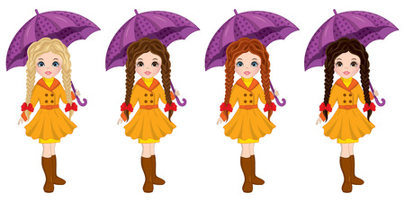 Vector beautiful young girls with various hair colors. Vector cute girls with umbrellas. Autumn girls vector illustration Illustration