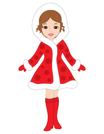 mitten: Vector beautiful young girl in red coat and boots. Christmas girl vector illustration Illustration