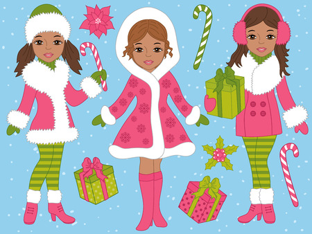 Vector Christmas set with beautiful African American girls, candy sticks, gift boxes on blue background. Christmas girls vector illustration Illustration