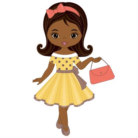 Vector cute little African American girl in retro style. Vector African American girl. Pin-up little girl vector illustration