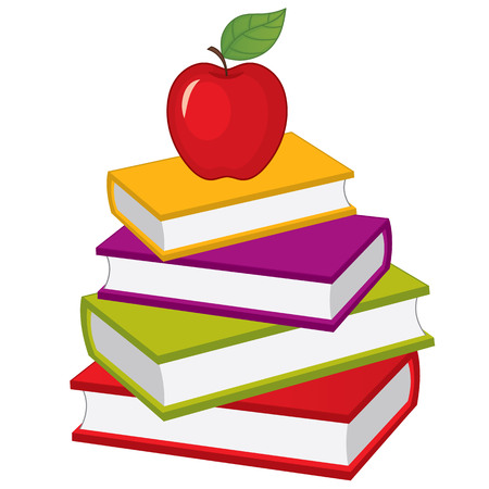 Vector stack of books with apple on top. Vector pile of books. Books vector illustration