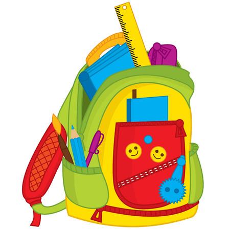 Vector colorido bolso de escuela. Mochila de niños Vector con cuaderno, regla y lápices. Ilustración de vector de bolso de escuela