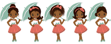 Vector cute little African American girls in retro style. Vector African American girls with various hairstyles. Pin-up little girls vector illustration Illustration