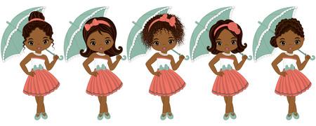 Vector leuke kleine Afrikaanse Amerikaanse meisjes in retro stijl. Vector Afrikaanse Amerikaanse meisjes met verschillende kapsels. Pin-up kleine meisjes vector illustratie