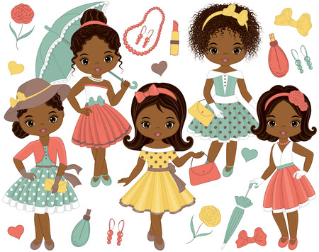 Vector set with cute little African American girls in retro style and fashion accessories. Vector fashion African American girls. Pin-up little girls and Eiffel Tower vector illustration Illustration