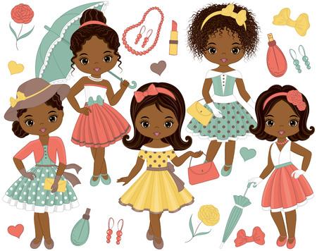 Vector met schattige kleine Afro-Amerikaanse meisjes in retro stijl en mode-accessoires. Vector mode Afro-Amerikaanse meisjes. Pin-up kleine meisjes en Eiffeltoren vectorillustratie Stock Illustratie